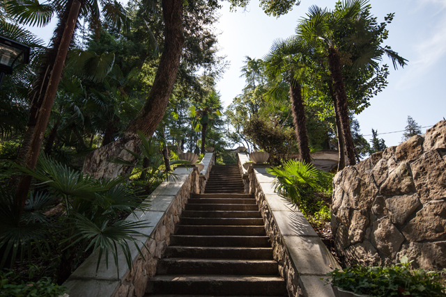 Stairs to Gora Bagrata from the first level of Gora Bagrata Park-Hotel in Sukhum