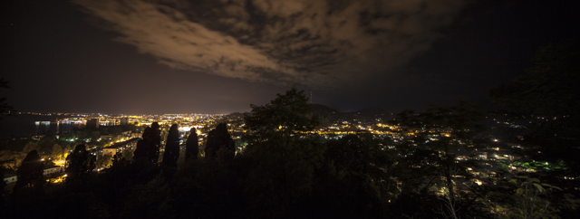 Night panoramic view of Sukhum from Bagrat's Castle (above the hotel)